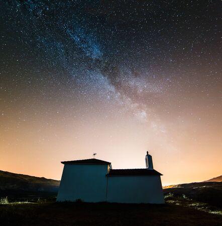 milkyway: Milky way over little chapel in Valdovino, Galicia, Spain