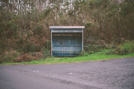 abandonment: Rural bus stop. The image shows deterioration and abandonment Stock Photo