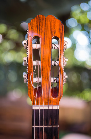 spanish guitar: Detail of the neck of a spanish guitar over blurred background