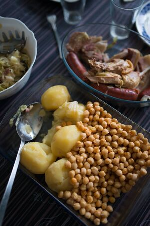 galician: Galician stew with beans, sausage and cabbage