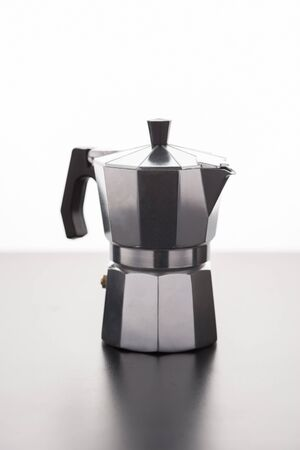 expresso: Italian expresso machine over wooden background with copy space Stock Photo