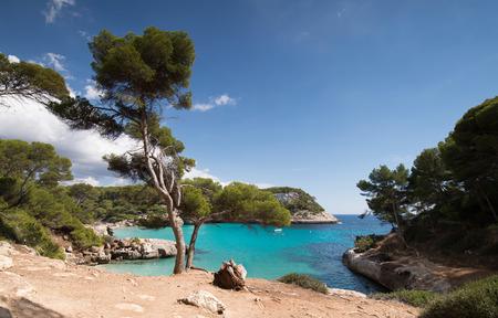 Cala mitjaneta and cala Mitjana in a sunny summer day, Menorca, Spain.