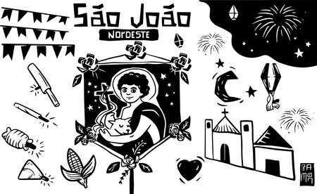 Woodcut, June festival, fireworks, Northeast Brazil, Inner city. Black and white vector image of a Feast of St. John. Woodcut, St. John