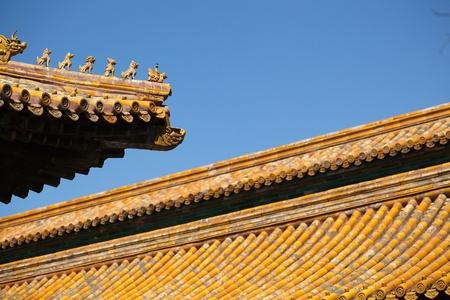 Figures of animals on the roof of the Forbidden City in Beijing