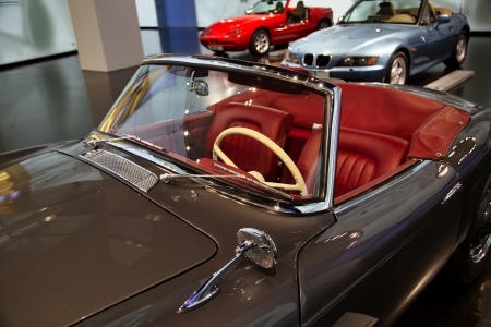 Red leather interior of the vehicle