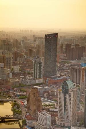 Panorama of Shanghai at dawn
