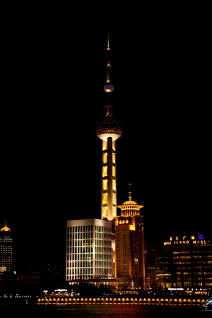 TV tower and architecture in Shanghai at night