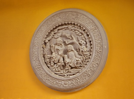 The bas-relief on the wall in Shanghai