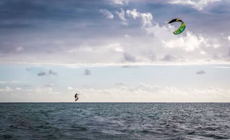 Kite surfing at Le Morne beach, Mauritius
