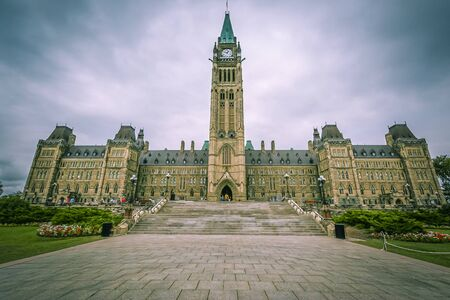 Ottawa, Canada, Aug 2015 - Parliament Hill is the home of the Parliament of Canada