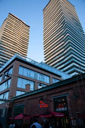Vertical shot of Distillery Town, Toronto