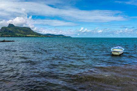 Lion mountain viewed across Mahebourg bay, Mauritius island Stok Fotoğraf