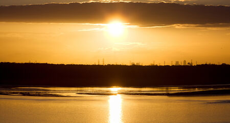 The panoramic view of a sunset over Jacksonville city  Florida