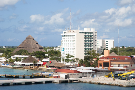 The view of San Miguel town resorts and restaurants on Cozumel island  Mexico