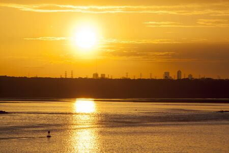 The Sun is going down over Jacksonville city  Florida   Stock Photo