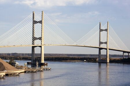 The view of a bridge over St. Johns River in the city of Jacksonville (Florida). Stock Photo
