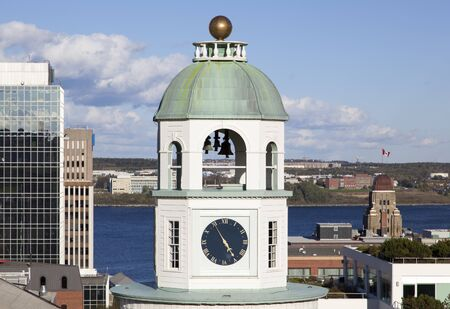 The view of Halifax city clock tower (Nova Scotia, Canada). Stock Photo