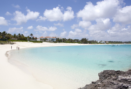 The endless beach on Paradise Island (The Bahamas). Stock Photo