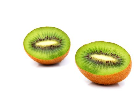 national fruit of china: Sections of kiwi fruit isolated on white background
