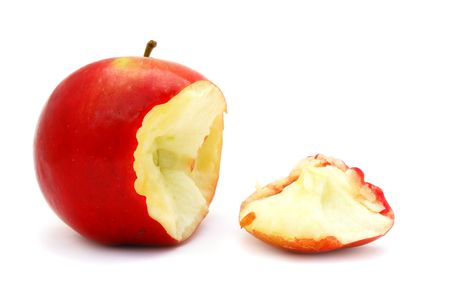 Fresh and delicious fruit apples on a white background                                photo