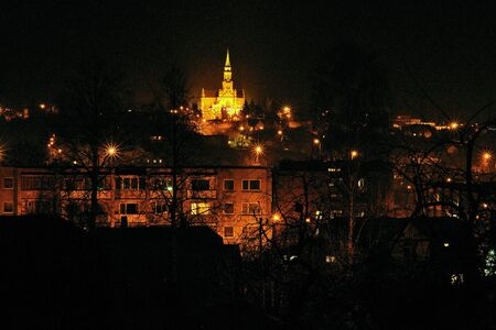 Night lights of the city of Vilnius, Lithuania