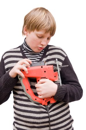 fret: Boy with a fret saw on a white background Stock Photo