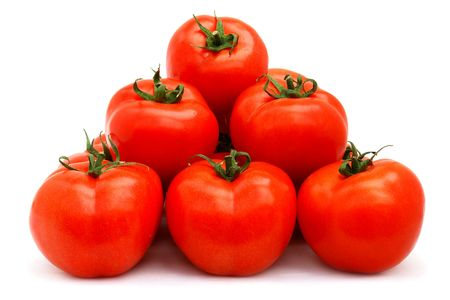 A few red tomatoes isolated on white Stock Photo - 6841807