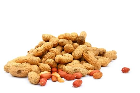 Handful of peanuts on a white background, isolated
