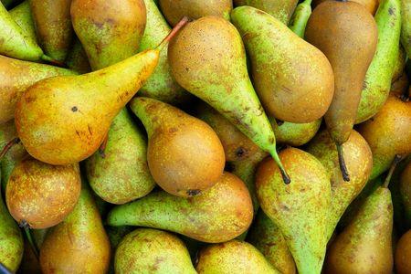 In the market plenty of ripe, sweet pears