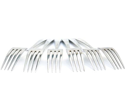 Group of Forks from the aged metal. Isolated on white Stock Photo - 7275538