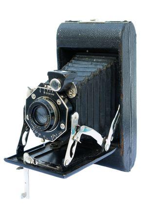 Old vintage black photo camera on white background                                 photo