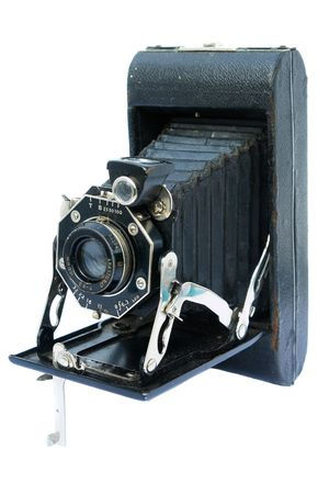 Old vintage black photo camera on white background Stock Photo - 7592652