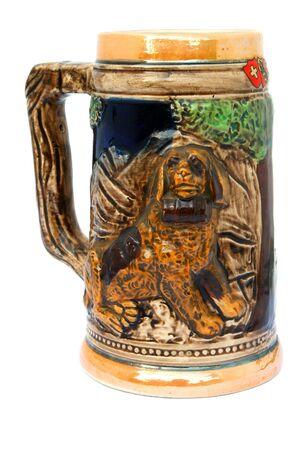 Vintage beer mug isolated on a white background