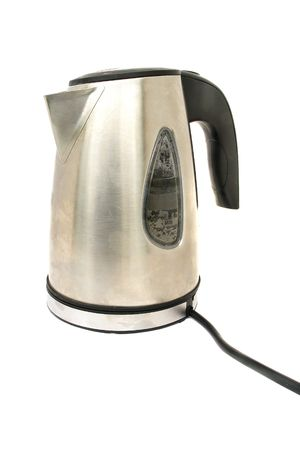The image of metallic kettle under the white background