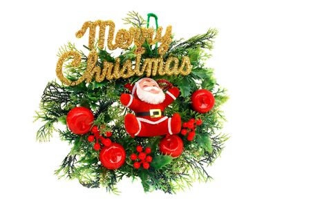 Christmas Wreath and Santa Claus isolated on white background                   Stock Photo