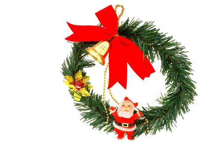 Christmas Wreath and Santa Claus isolated on white background                                 photo