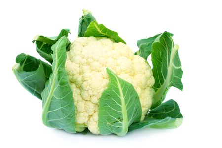 Close up shot of raw organic cauliflower isolated on the white background