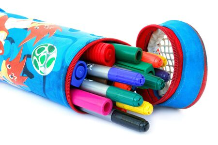 Colored felt tip pens in a case