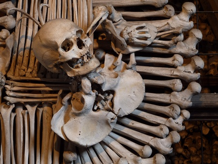 Human skull and bones  in the bone chapel in Kutna Hora, Czech Republic                                Stock Photo