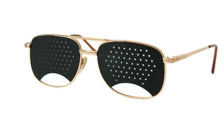 shortsightedness: Black glasses with holes for vision correction