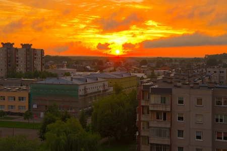 Cityscape of buildings and dramatic sky in Kaunas, Lithuania