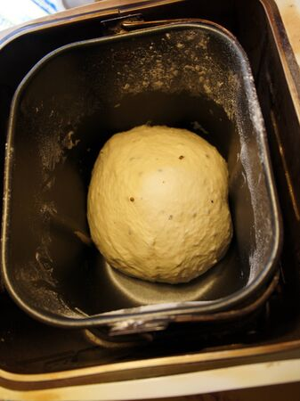 Raw fresh yeast dough in bread maker photo