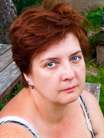Portrait of an elderly woman outdoors  Stock Photo