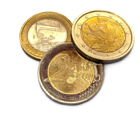 A close up with euro coins over a white background Stock Photo