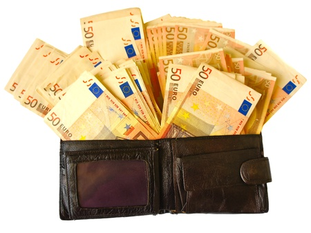 Old leather wallet with euro banknotes  isolated on white background Stock Photo
