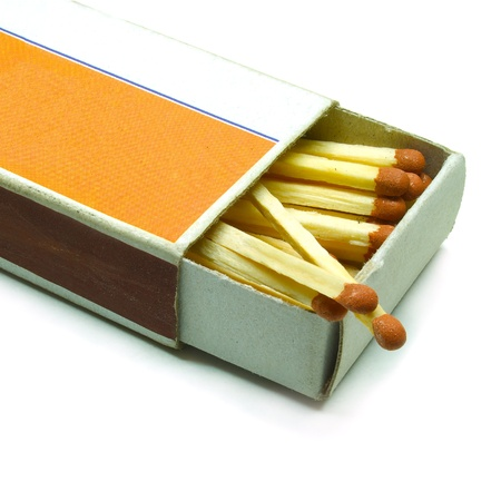 Old matchbox isolated on the white background photo
