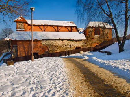 Nearby Gedeiminas castle west tower  in winter, Vilnius Stock Photo