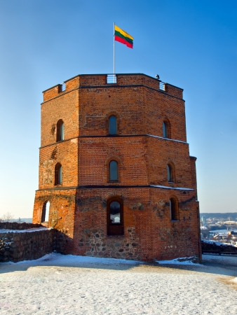 Symbol of Vilnius - Tower of Gediminas, winter Editorial