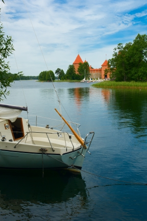 Old medieval castle on lake Galve in Trakai, Lithuania
