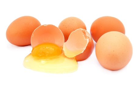 The chicken broken egg isolated on a white background                    Stock Photo